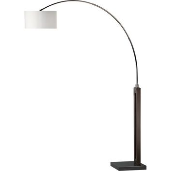 Runyon Arc Lamp Pecan Black Nickel & White Shade