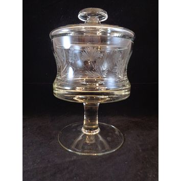 Crystal Etched Pedestal Compote Bowl With Lid