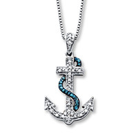 Anchor Necklace 1/10 ct tw Diamonds Sterling Silver