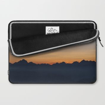 Mountain Range Silhouette Laptop Sleeve by Mixed Imagery
