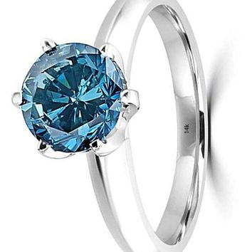 CERTIFIED 1/2-5 Carat Total Weight Round 14K White Gold blue Diamond Ring