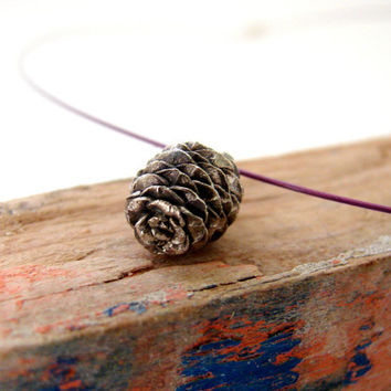 Pine Cone Necklace Sterling Silver Woodland by Nafsika on Etsy