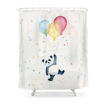Society6 Panda Floating With Balloons Shower Curtain