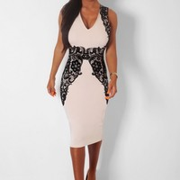Humility Nude & Black Lace Illusion Midi Dress | Pink Boutique