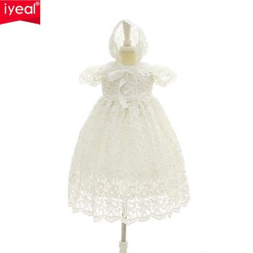 IYEAL 2017 New 1 Year Birthday Baby Girl Dresses For Baptism Infant Princess Lace Christening Gown Newborn Toddler Bebes Clothes