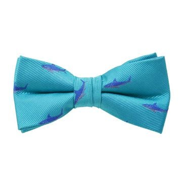 Shark Bow Tie - Aqua, Woven Silk, Pre-Tied for Kids
