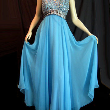 Vintage 60s Dress Silver Blue Sequin Chiffon Party Cotillion Prom Spring Dance Miss Elliette