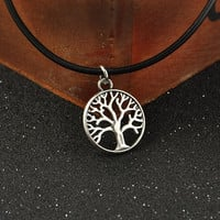 Vintage Punk Tree Pendant Leather Cord Charm Bib Collar Statement Choker Necklace (Size: 45 cm, Color: Black) = 1932061252