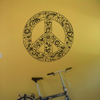 Peace Sign Made of Flowers Hippie flower child Bohemian beatnik free spirit dropout Woodstock Joy Wall Art Sticker Decal tr090