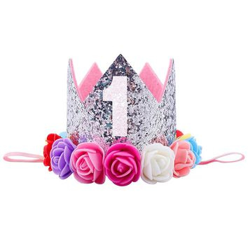 Hat Gifts Baby Girl First Birthday Party Hat Decorations Hairband Princess Queen Crown Lace Hair Band Elastic Head Wear