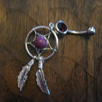 Dark Amethyst -- Dream Catcher Belly Button Ring