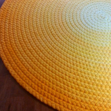 Cotton Braided Area Rug in Bright Yellow Ombre – Round or Oval – 10 Sizes Available