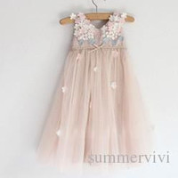 2015 summer new children princess dress girls beaded petals tulle tutu dress kids vest party dress lace floral ZA0002