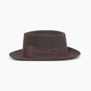 Vintage 60s Stetson FEDORA / Men's 1960s Dark Brown Flat Porkpie Hat 7