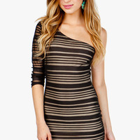 Mesh Stripe 1 Shoulder Dress