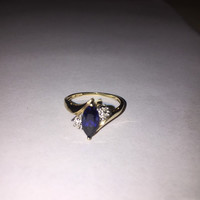 ON SALE 10K Sapphire Diamond Ring Sz 7.5 Gold 10Kt Solitaire Cocktail Vintage Jewelry Birthday Anniversary Christmas Holiday Engagement Gift