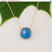CLEARANCE - Blue Chalcedony Necklace - 14k Gold Filled Chain - bezel set necklace - gemstone necklace - Gold necklace -