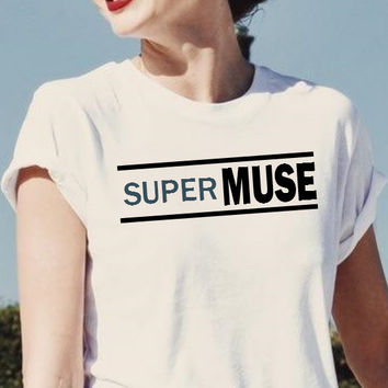 Super Muse Band Parody Short Sleeved Tshirt Unisex Model Fashion Look