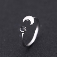 Fashion Adjustable Moon Open Rings for Women 925 Sterling Silver Vintage Finger Ring Jewlery Christmas gift