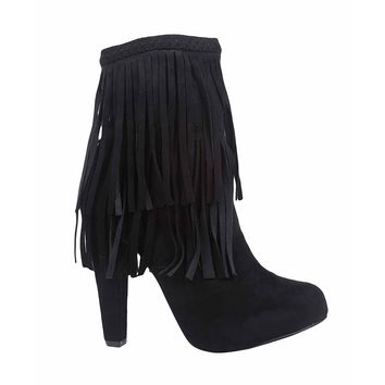 Women's Black Faux Suede Fringe Zip Up High Heel Ankle Boots