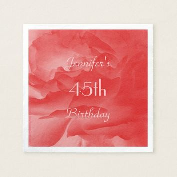 Coral Rose Paper Napkins, 45th Birthday Napkin