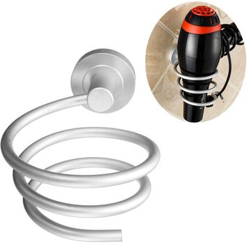 Fashion Spiral Blow Hair Dryer Stand Holder Home Bathroom Wall Mounted Hair Dryer Flat Holder Hang Organizer