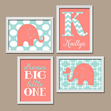 Girl ELEPHANT Nursery Wall Art Coral Aqua Nursery Baby Girl Nursery Wall Art Girl Bedroom Canvas or Prints Girl Nursery Elephants Set of 4