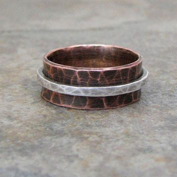 Copper Spinner Ring Wedding Band Hammered Silver Wedding Ring