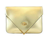 Golden Metallic Envelope Clutch