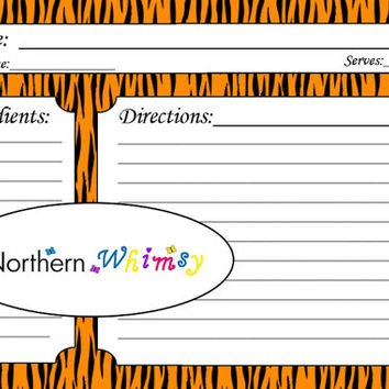 Tiger Stripe 4x6 Recipe Card Set – printable jungle animal print recipe cards – Black & Orange Tiger Pattern – INSTANT DOWNLOAD