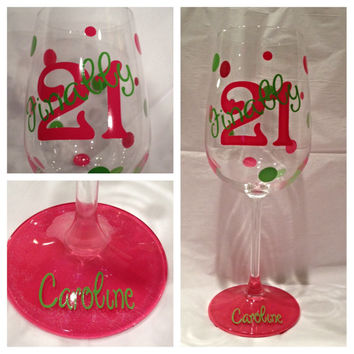 Custom Birthday Wine Glass, 21st Wine Glass, Milestone Birthday Glass