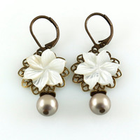 Flower Earrings, White Mother of Pearl Dangle Earrings with Platinum Swarovski Pearls, Darci Collection