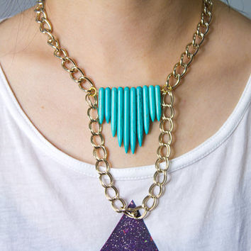 Turquoise Howlite Spikes Arrow Shield Statement layered gold chain Necklace by AstralMetal