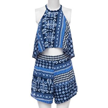 Stylish Round Collar Tribal Print Tank Top + Mid Waist A-Line Culotte Women's Twinset