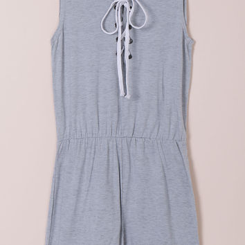 Gray Jewel Sleeveless Lace Romper
