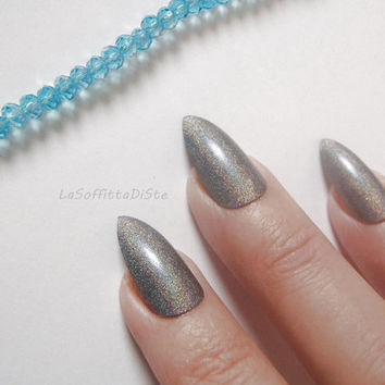 olographic silver grey gray stiletto nails glue on almond wedding bridal false nails christmas sexy pointy fashion acrylic lasoffittadiste