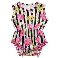 Striped Newborn Toddler Infant Baby Girl Sleeve Floral Romper Tassel Jumpsuit Outfit Sunsuit Clothes