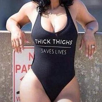 2018 High Cut THICK THIGHS SAVES LIVES Funny Letter Swimsuit One Piece Women Swimwear Swim Bathing Suits Black Monokini Bodysuit