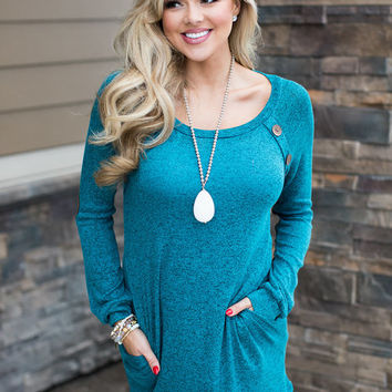 Into You Heathered Teal Suede Elbow Tunic