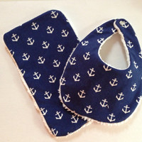 Anchor Baby/Toddler Burp Cloth and Bib Set by KylieHandcrafts
