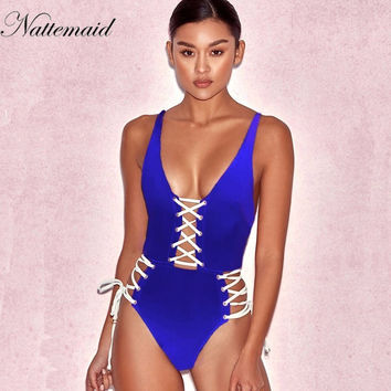Women V neck Spandex Bodysuit 2017 Summer Sleeveless hollow lace up Bodycon One Pieces Jumpsuit playsuits whole