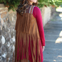 On the Fringe Suede Vest {Camel}