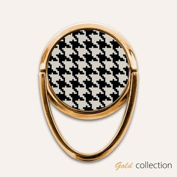 Gold Houndstooth Phone Ring Finger Holder Mount Stand Grips