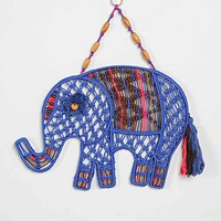 Magical Thinking Macrame Elephant Wall Art- Blue One