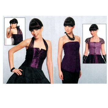 SEXY BUSTIER TOP Pattern Fitted Evening Prom Cocktail Peplum Corset Tops Burda 7302 Size 10 to 20 UNCuT Burda Style Womens Sewing Patterns