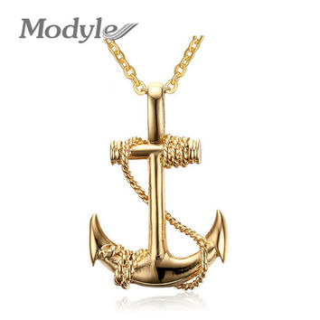 Modyle 2016 New Fashion Gold/Silver Plated Charm Cool Anchors Men Women Rock Punk Necklace Jewelry Women necklaces & Pendants