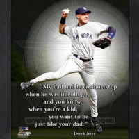 """Derek Jeter New York Yankees ""Dad"" Pro Quotes Framed 8x10 Photo"""