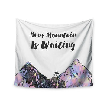 """Kess Original """"Your Mountain Is Waiting """" Pink Purple Wall Tapestry"""