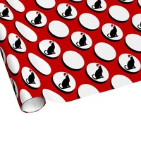 Cute Polka Dots w Xmas Cat, Red/White Holiday Wrap