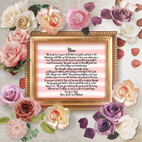 Personalized Mother Poem Art Print, Personalized Mom Poem Gift, Mother's Day Wall Art Gift, Christian Gift For Mom, Watercolor Wall Decor